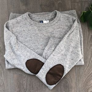 H&M divided confetti sweatshirt with elbow patches